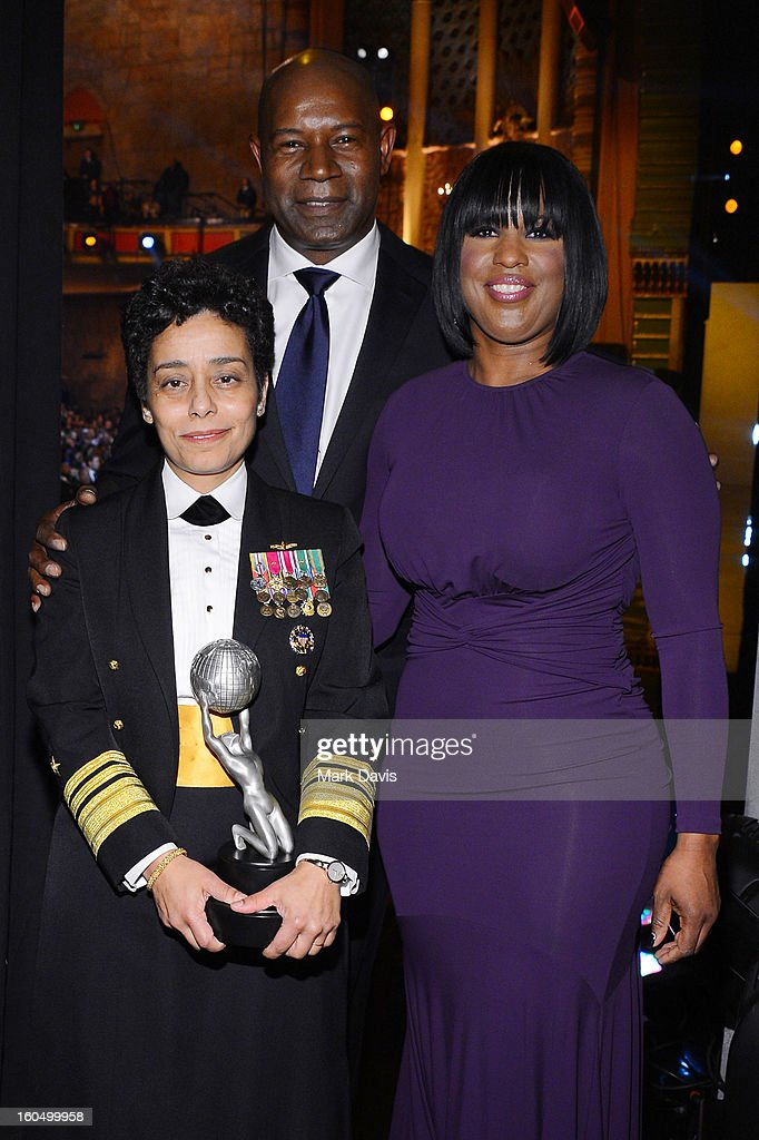 Vice Admiral Michelle Howard, recipient of the Chairman's Award, actor Dennis Haysbert, and NAACP Chairman of the National Board of Directors Roslyn M. Brock attend the 44th NAACP Image Awards at The Shrine Auditorium on February 1, 2013 in Los Angeles, California.