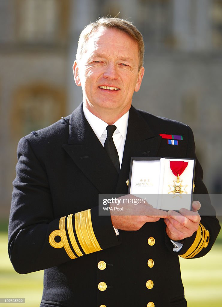 Vice Admiral Robert Cooling poses after receiving his Order of the Bath from the Princess Anne, Princess Royal at Windsor Castle on October 20, 2011 in Windsor, England.