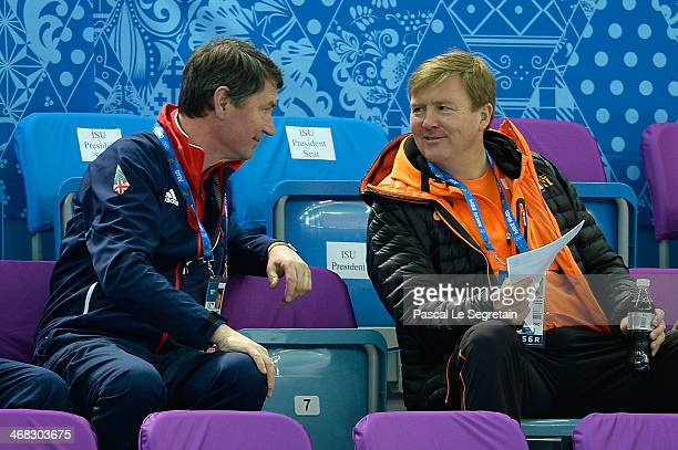 Vice Admiral Sir Timothy Laurence and King WillemAlexander of the Netherlands attend the Short Track on day 3 of the Sochi 2014 Winter Olympics at...