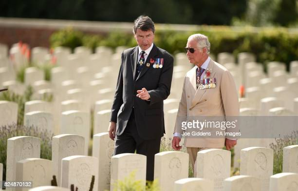 Vice Admiral Sir Timothy Laurence and The Prince of Wales during a wreath laying ceremony at the Artillery Wood Cemetery in Ypres Belgium to mark the...