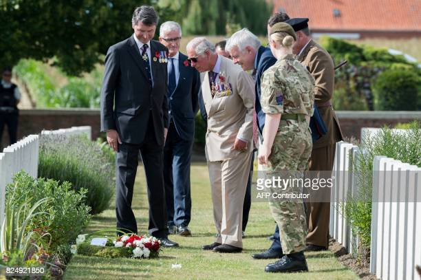 Vice Admiral Sir Timothy Laurence Britain's Prince Charles and First Minister of Wales Carwyn Jones attend a ceremony at the Artillery Wood Cemetery...