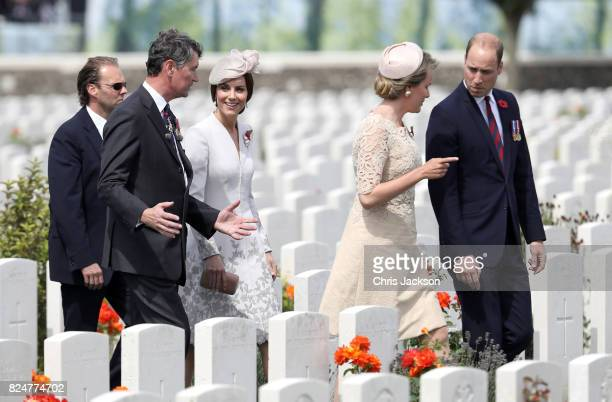Vice Admiral Sir Timothy Laurence Catherine Duchess of Cambridge Queen Mathilde of Belgium and Prince William Duke of Cambridge walk through the...