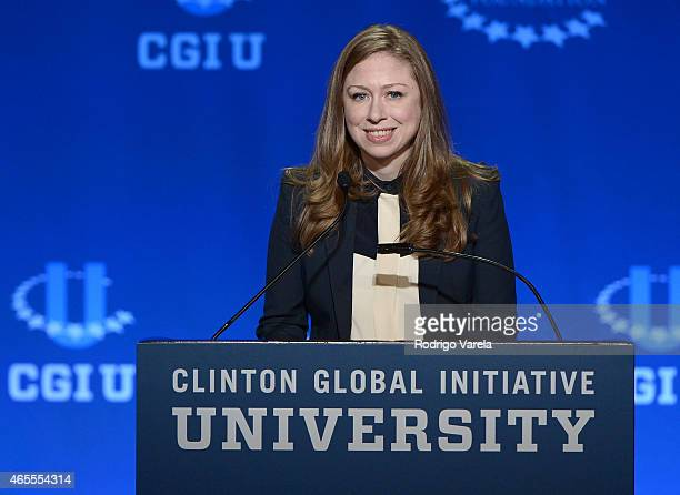 Vice Chair of the Clinton Foundation Chelsea Clinton speaks at the 2015 Meeting of Clinton Global Initiative University at University of Miami on...