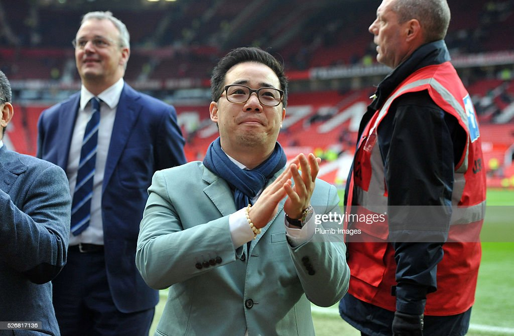 Vice Chairman Aiyawatt Srivaddhanaprabha of Leicester City applauds the travelling fans after the Premier League match between Manchester United and Leicester City at Old Trafford on May 01, 2016 in Manchester, United Kingdom.