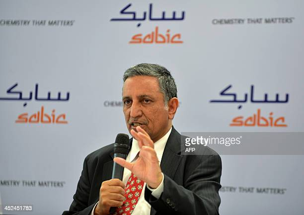 Vice Chairman and CEO of Saudi Basic Industries Corporation Mohamed H AlMady gestures as he addresses a press conference ahead of the inauguration of...