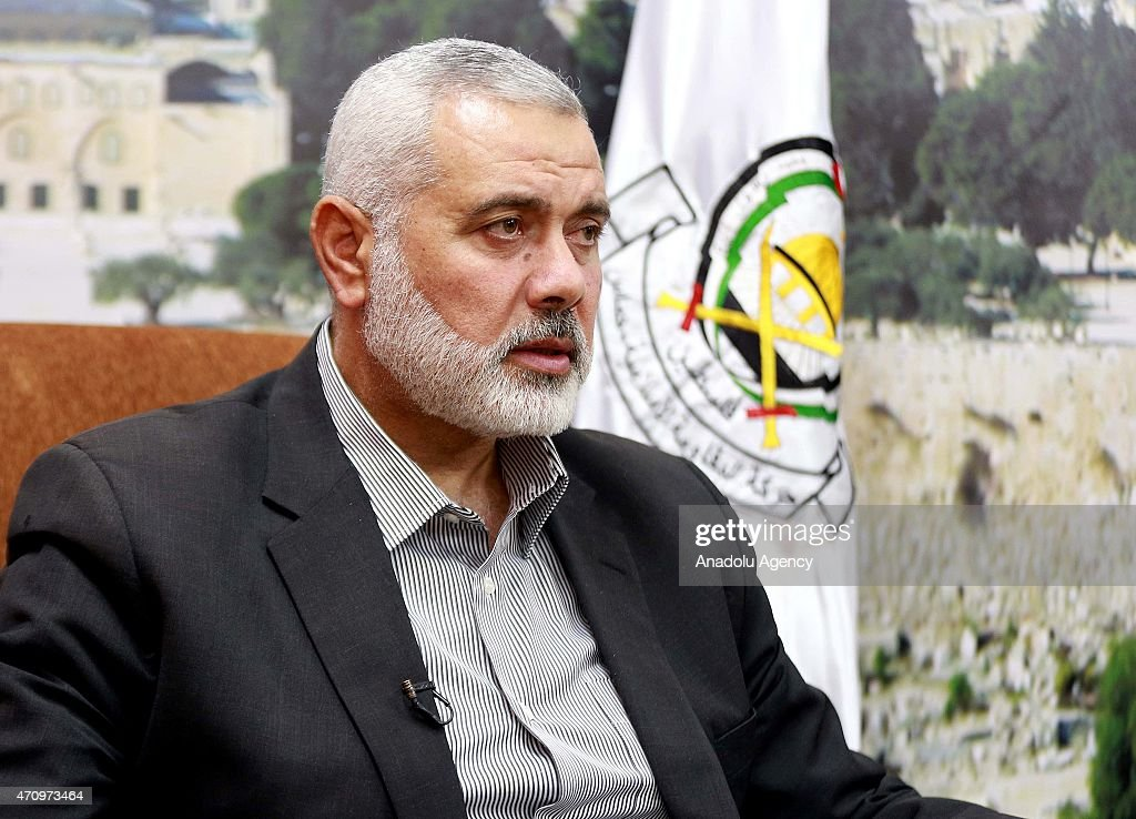 Vice chairman of Hamas political bureau <a gi-track='captionPersonalityLinkClicked' href=/galleries/search?phrase=Ismail+Haniyeh&family=editorial&specificpeople=543410 ng-click='$event.stopPropagation()'>Ismail Haniyeh</a> speaks to press in Gaza City, Gaza on April 24, 2015. Henniyeh speaks over Armenian allegations on 1915 incidents within World War I.