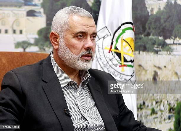 Vice chairman of Hamas political bureau Ismail Haniyeh speaks to press in Gaza City Gaza on April 24 2015 Henniyeh speaks over Armenian allegations...
