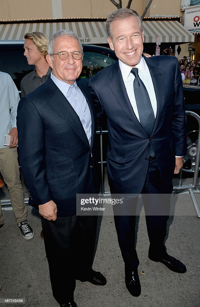 Vice Chairman of NBCUniversal Ron Meyer (L) and news anchor Brian Williams attend Universal Pictures' 'Neighbors' premiere at Regency Village Theatre on April 28, 2014 in Westwood, California.