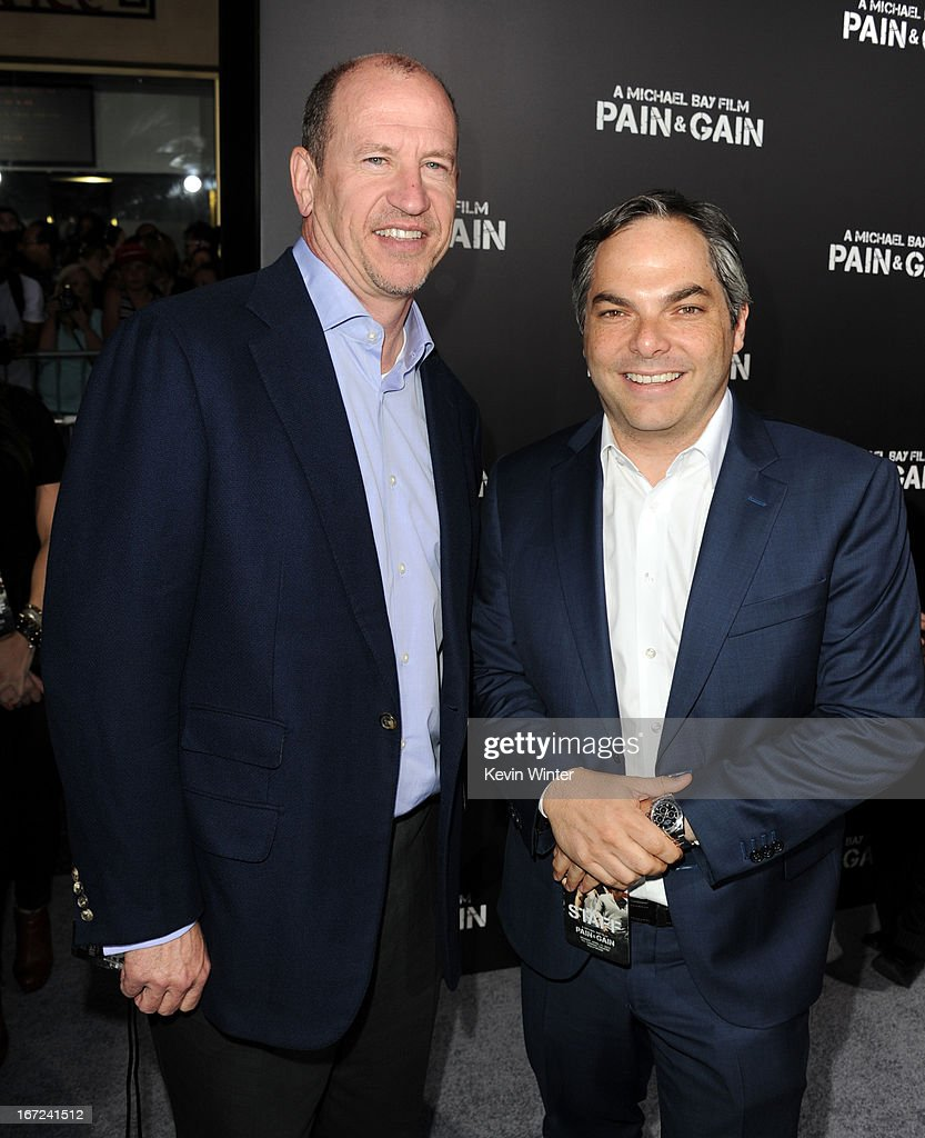 Vice Chairman of Paramount Pictures Rob Moore and President/ Paramount Film Group <a gi-track='captionPersonalityLinkClicked' href=/galleries/search?phrase=Adam+Goodman&family=editorial&specificpeople=2211582 ng-click='$event.stopPropagation()'>Adam Goodman</a> arrive at the premiere of Paramount Pictures' 'Pain & Gain' at TCL Chinese Theatre on April 22, 2013 in Hollywood, California.