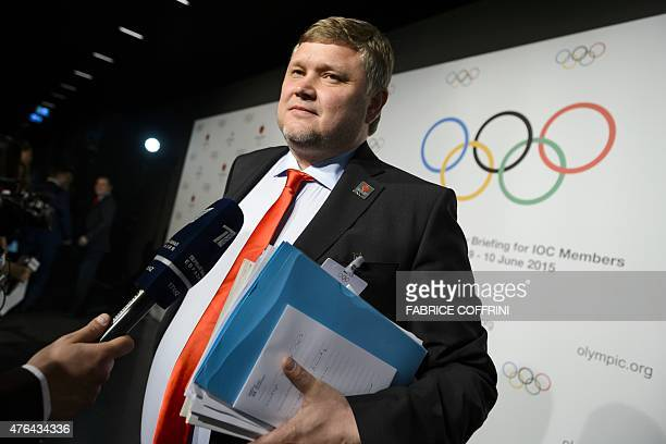 Vice Chairman of the Almaty 2022 bid committee Andrey Kryukov answers to journalists on June 9 2015 at the IOC Museum in Lausanne after the bid...