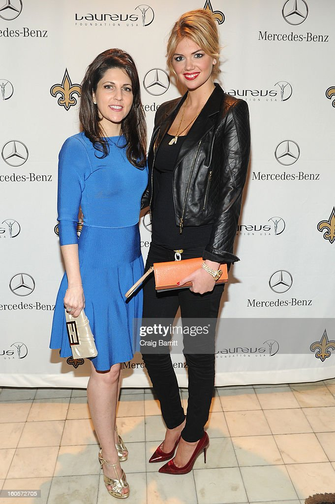 Vice Chairman of the Board of the New Orleans Saints, Rita Benson LeBlanc and model Kate Upton attend the Mercedes-Benz Laureus Event at The Wedding Cake House on February 2, 2013 in New Orleans, Louisiana.