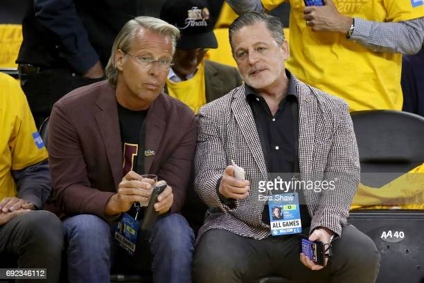 Vice Chairman of the Cleveland Cavaliers Nate Forbes and Cavaliers owner Dan Gilbert attend Game 2 of the 2017 NBA Finals at ORACLE Arena on June 4...