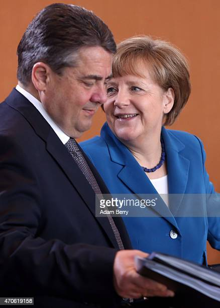 Vice Chancellor and Economy and Energy Minister Sigmar Gabriel and German Chancellor Angela Merkel arrive for the weekly German federal Cabinet...