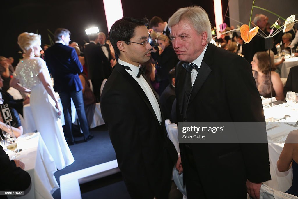 Vice Chancellor and Economy Minister Philipp Roesler and Hesse Governor Volker Bouffier attend the 2012 Bundespresseball at the Intercontinental...