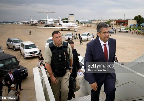Vice Chancellor and Federal Foreign Minister Sigmar Gabriel SPD climbs into an airplane accompanied by personal protection on August 10 2017 in...