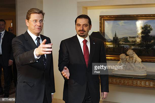 Vice Chancellor and Foreign Minister Guido Westerwelle welcomes Lebanese Prime Minister Saad alHariri at Hotel Adlon on March 15 2010 in Berlin...