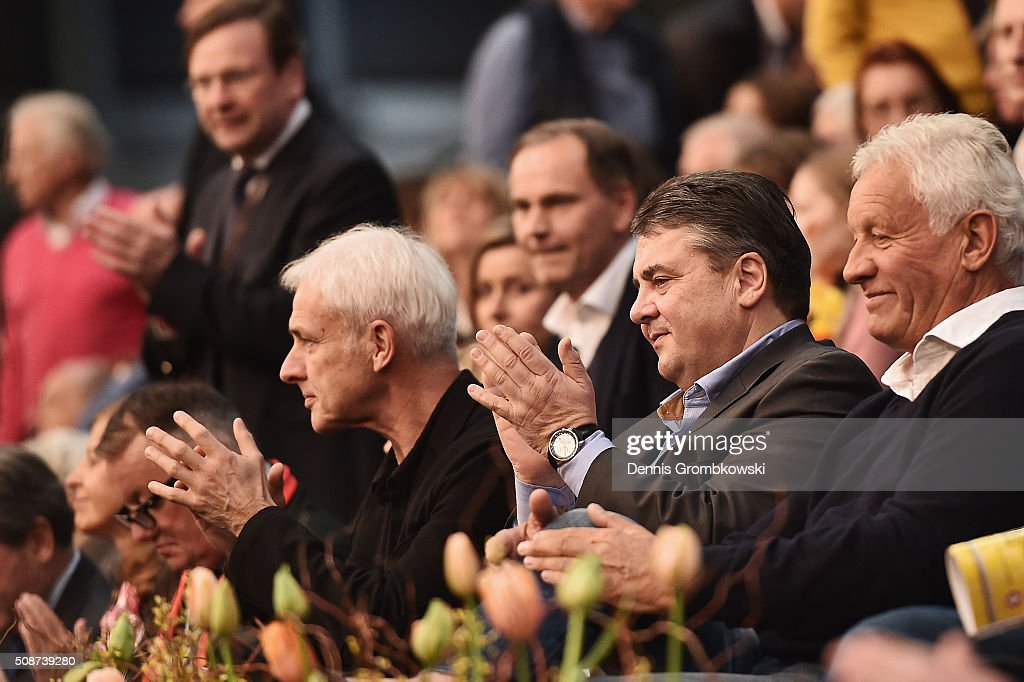 Vice chancellor of Germany <a gi-track='captionPersonalityLinkClicked' href=/galleries/search?phrase=Sigmar+Gabriel&family=editorial&specificpeople=543927 ng-click='$event.stopPropagation()'>Sigmar Gabriel</a> attends Day 1 of the 2016 Fed Cup World Group First Round match between Germany and Switzerland at Messe Leipzig on February 6, 2016 in Leipzig, Germany.