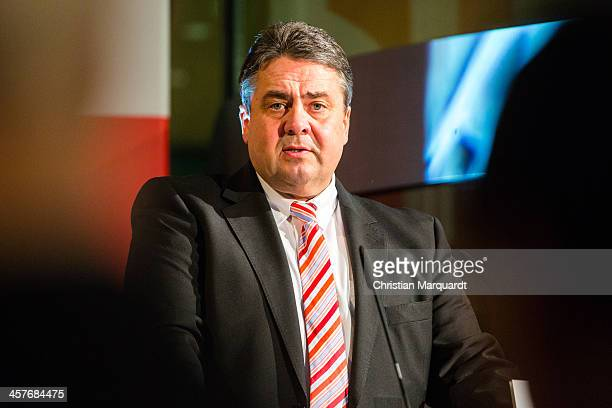 Vice Chancellor Sigmar Gabriel talks during the celebration '100th Anniversary of Willy Brandt' on December 18 2013 in Berlin Germany Brandt was born...