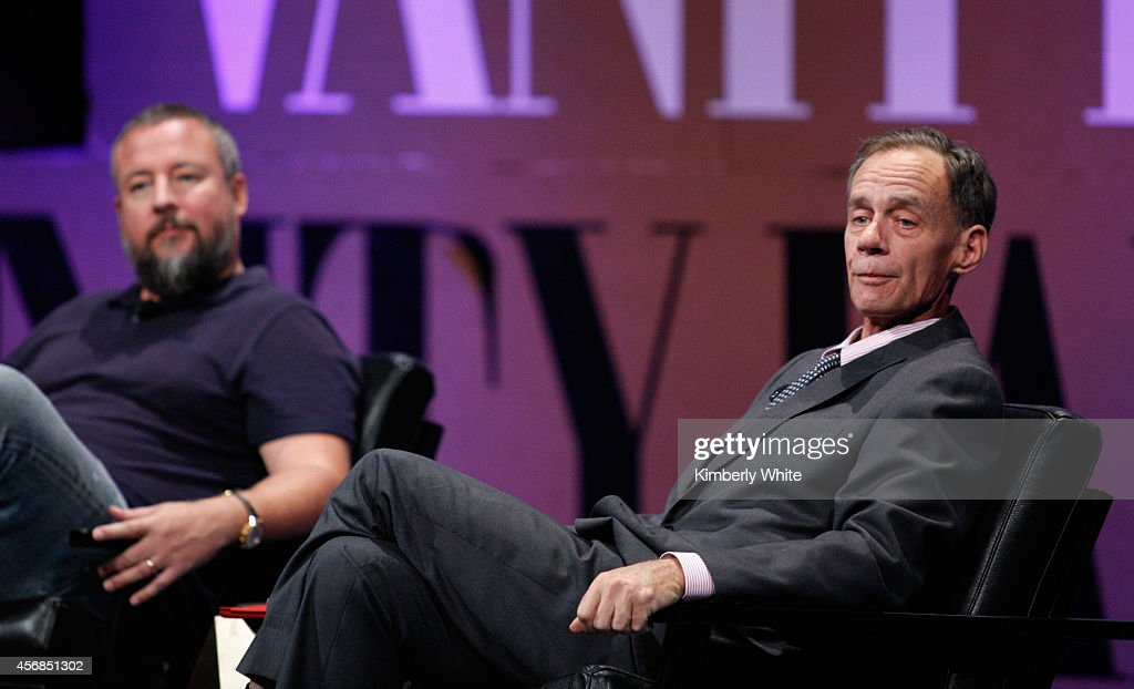 """Vice CoFounder Shane Smith and The New York Times Columnist and Moderator David Carr speak onstage during '""""Missing Ink The New Journalism"""" at the..."""