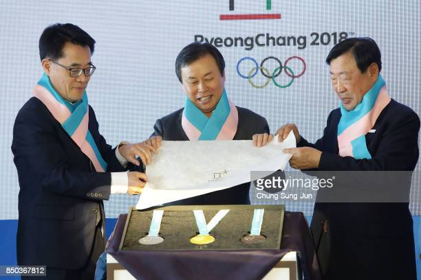 Vice Governor of Gangwon province Song SeokDoo Minister of Culture Sports and Tourism Do JongWhan and President of the PyeongChang Organizing...