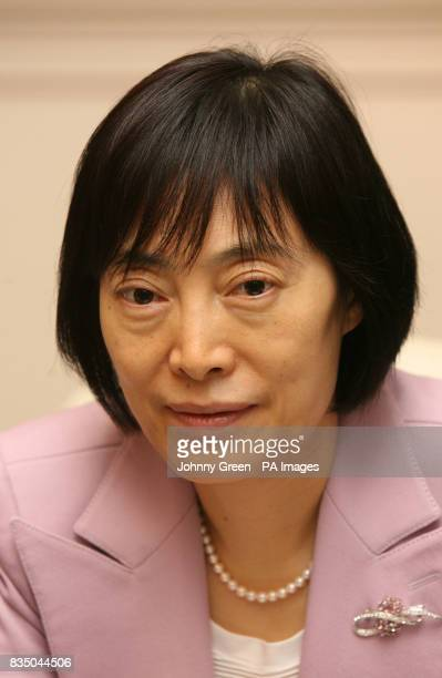 Vice Governor of the People's Bank of China Hu Xiaolian attends a meeting with young business people at the Mandarin Oriental Hotel in Knightsbridge...
