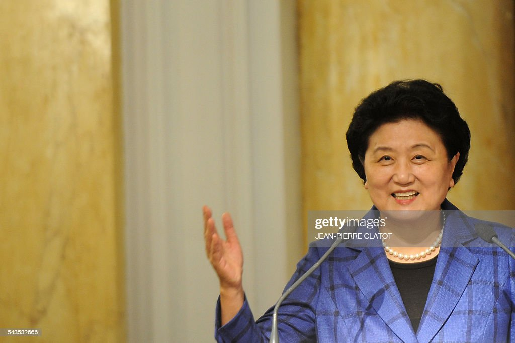 Vice Premier of China, Liu Yandong delivers a speech during a ceremony with the French Minister for Sports on June 29, 2016 in Chamonix Mont-Blanc, as part of Liu Yandong's visit to sign a cooperation agreement on winter sports. / AFP / JEAN