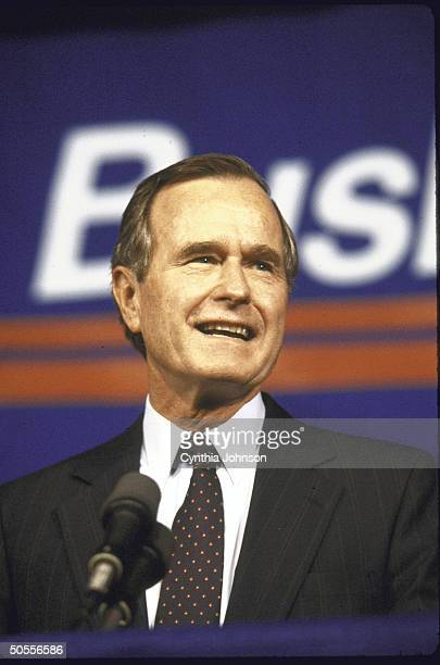 US Vice Pres George H W Bush campaigning for the presidency