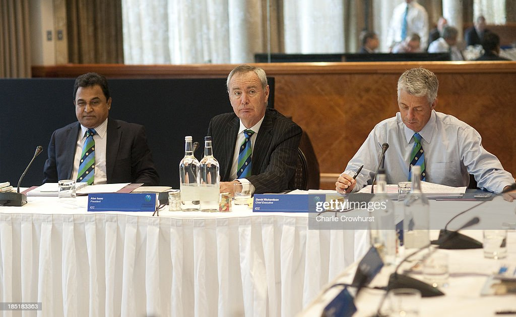 Vice President AHM Mustafa Kamal, President Alan Isaac and Cheif Executive David Richardson during the ICC Board Meeting at The Royal Garden Hotel on October 18, 2013 in London, England.
