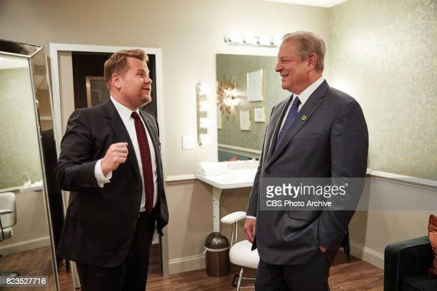Vice President Al Gore chats in the green room with James Corden during 'The Late Late Show with James Corden' Wednesday July 26 2017 On The CBS...