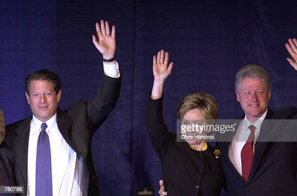 Vice President Al Gore left First Lady Hillary Rodham Clinton and President Clinton greet the crowd during a Democratic fundraising dinner in New...