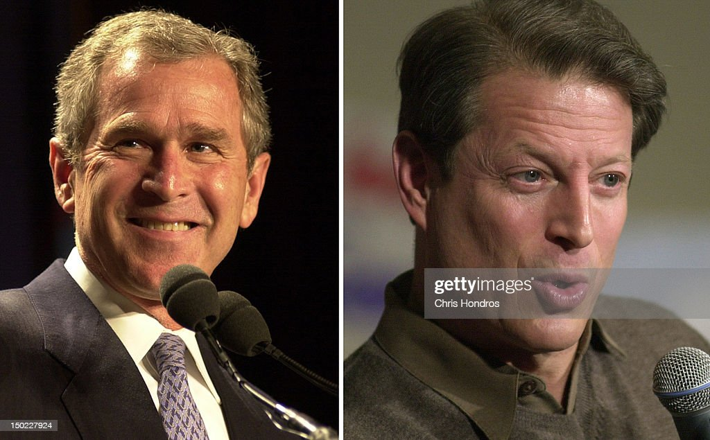 In this composite image a comparison has been made between former US Presidential Candidates <a gi-track='captionPersonalityLinkClicked' href=/galleries/search?phrase=George+W.+Bush&family=editorial&specificpeople=122011 ng-click='$event.stopPropagation()'>George W. Bush</a> (L) and <a gi-track='captionPersonalityLinkClicked' href=/galleries/search?phrase=Al+Gore&family=editorial&specificpeople=119691 ng-click='$event.stopPropagation()'>Al Gore</a>. In 2000 <a gi-track='captionPersonalityLinkClicked' href=/galleries/search?phrase=George+W.+Bush&family=editorial&specificpeople=122011 ng-click='$event.stopPropagation()'>George W. Bush</a> won the presidential election to become the President of the United States. NEW YORK - FEBRUARY 14: Vice President <a gi-track='captionPersonalityLinkClicked' href=/galleries/search?phrase=Al+Gore&family=editorial&specificpeople=119691 ng-click='$event.stopPropagation()'>Al Gore</a> makes a point during an appearance at Medgar Evers College in Brooklyn, New York, February 14, 2000. Gore spoke on educational funding issues in his speech to students and faculty.