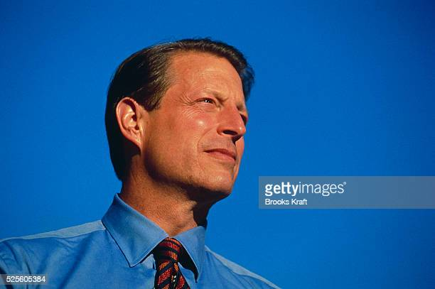 Vice President Al Gore makes an appearance during his presidential campaign Gore lost the 2000 Presidential Election to George W Bush after a...