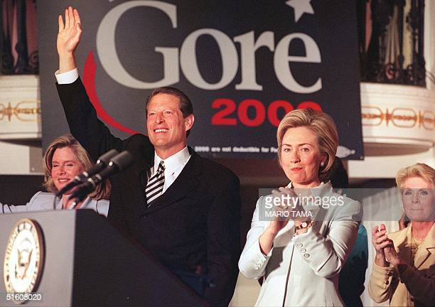 Vice President Al Gore with First Lady Hillary Rodham Clinton and Tipper Gore at a 'Women for Gore' event in Washington DC where CLinton endorsed...