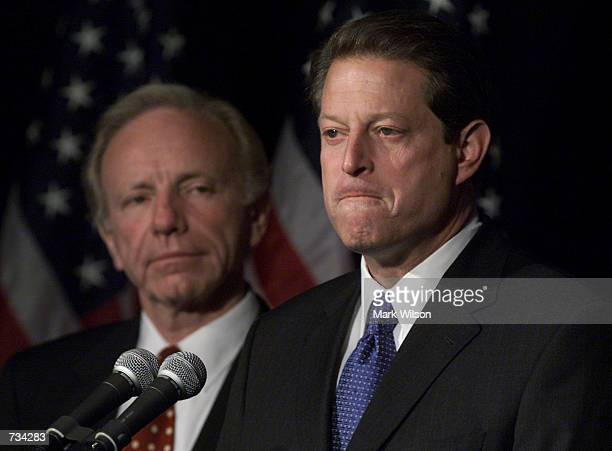 Vice President Al Gore with Sen Joeseph Lieberman by his side makes a statement to reporters November 8 2000 the undecided victor in the Presidential...