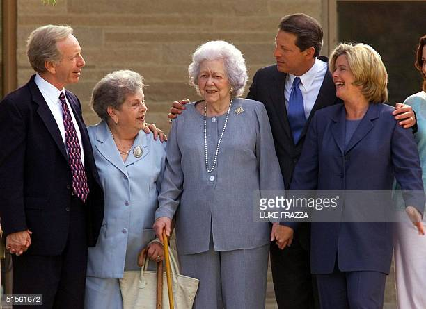 Vice President and Democratic presidential candidate Al Gore his wife Tipper his running mate US Senator Joseph Lieberman DCT Lieberman's mother...