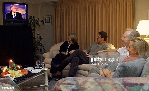 Vice President and Democratic presidential candidate Al Gore his wife Tipper his running mate US Sen Joe Lieberman DCT and his wife Hadassah watch...