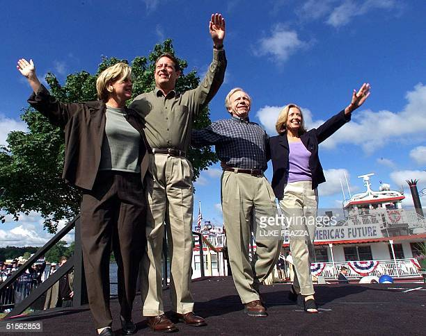 Vice President and Democratic presidential candidate Al Gore his wife Tipper his running mate US Senator Joe Lieberman DCT and Lieberman's wife...
