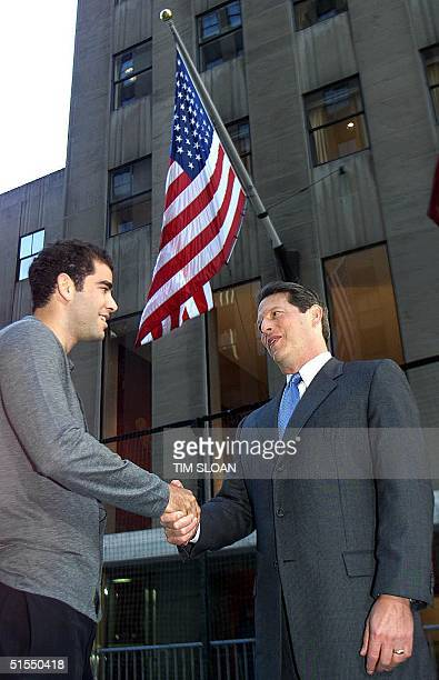 Vice President and Democratic presidential candidate Al Gore meets 2000 Wimbledon champion Pete Sampras outside the NBC 'Today Show' studios where...