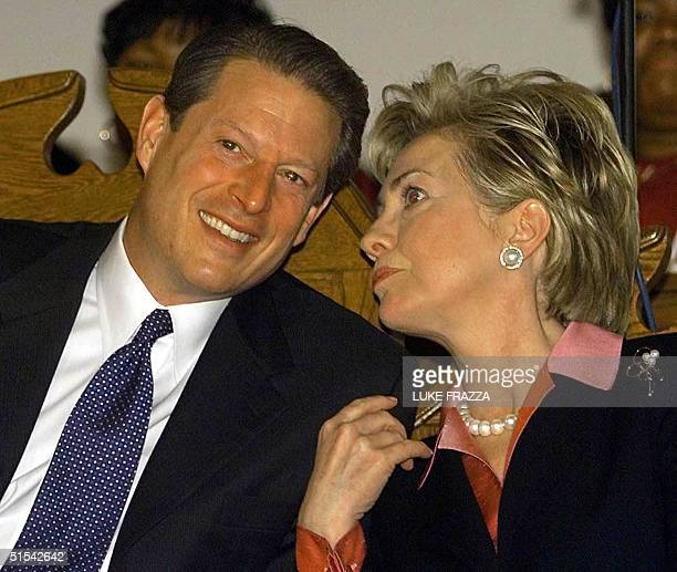Vice President and Democratic presidential hopeful Al Gore and US First Lady Hillary Clinton attend the Black and Puerto Rican and Hispanic...