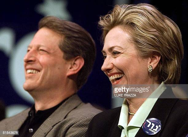 Vice President and Democratic presidential hopeful Al Gore and US First Lady and US Senate candidate from New York Hillary Rodham Clinton appear at a...