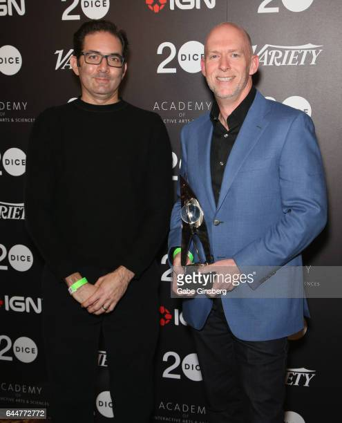 Vice President and game director of Blizzard Entertainment Jeff Kaplan and Chief Development Officer of Blizzard Entertainment Frank Pearce pose with...