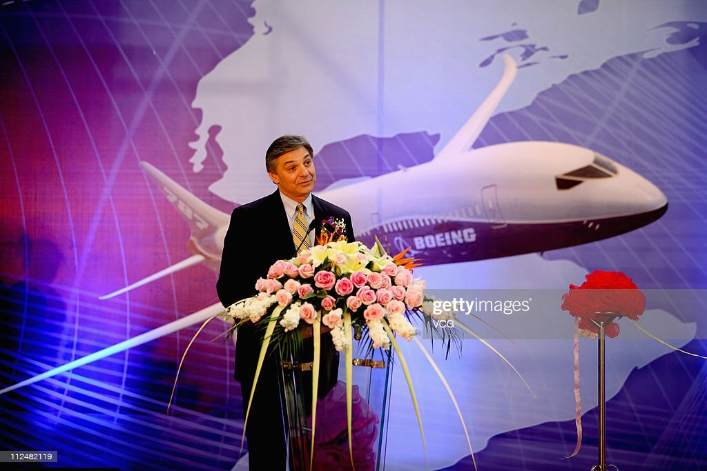 Vice president and general manager of Supply Chain Management and Operations for Boeing Commercial Airplanes <a gi-track='captionPersonalityLinkClicked' href=/galleries/search?phrase=Ray+Conner&family=editorial&specificpeople=7660065 ng-click='$event.stopPropagation()'>Ray Conner</a>, speaks at the new facility opening ceremony of Boeing Tianjin Composites Co., Ltd on April 18, 2011 in Tianjin, China. Boeing Tianjin Composites Co., Ltd, a joint venture between Boeing and the Aviation Industries Corporation of China (AVIC), produces components and parts for all of Boeing's in-production programs including the 737, 747-8, 767, 777 and 787. The new facility will increase Boeing Tianjin Composites' production capacity by 60 percent by 2013.