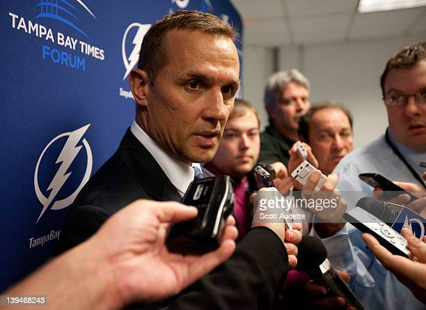 Vice President and General Manager Steve Yzerman of the Tampa Bay Lightning talks to the media after trading Steve Downie before the start of the...