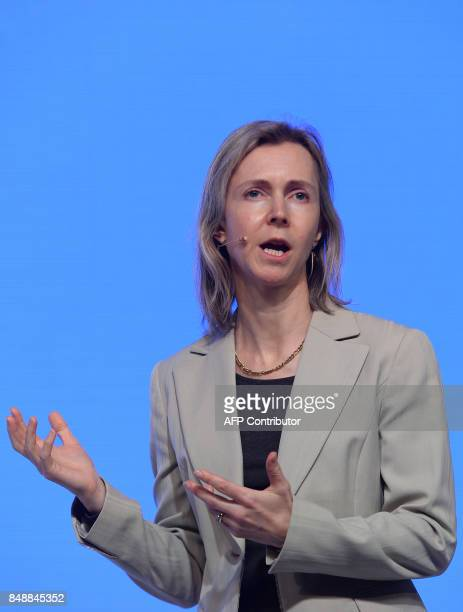 Vice President and Head of Finance and Commerce Products for Googles 'Next Billion Users' team Diana Layfield speaks during the launch of the Google...