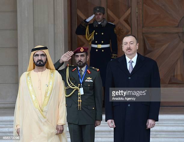 Vice President and Prime Minister of the United Arab Emirates Mohammed bin Rashid Al Maktoum is seen next to Azerbaijani President Ilham Aliyev...