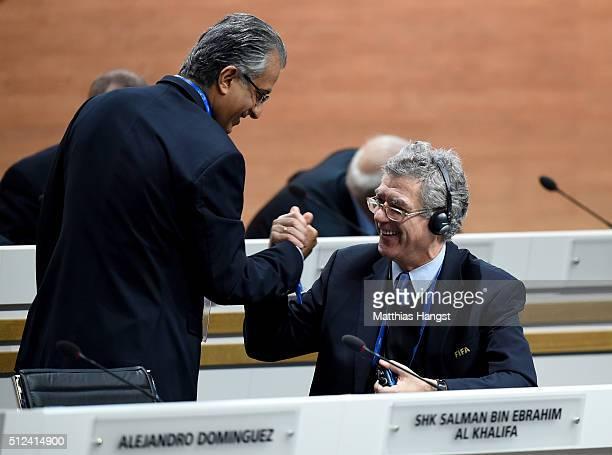 Vice President Angel Maria Villar Llona shakes hands with FIFA Presidential candidate Sheikh Salman Bin Ebrahim Al Khalifa prior to the Extraordinary...