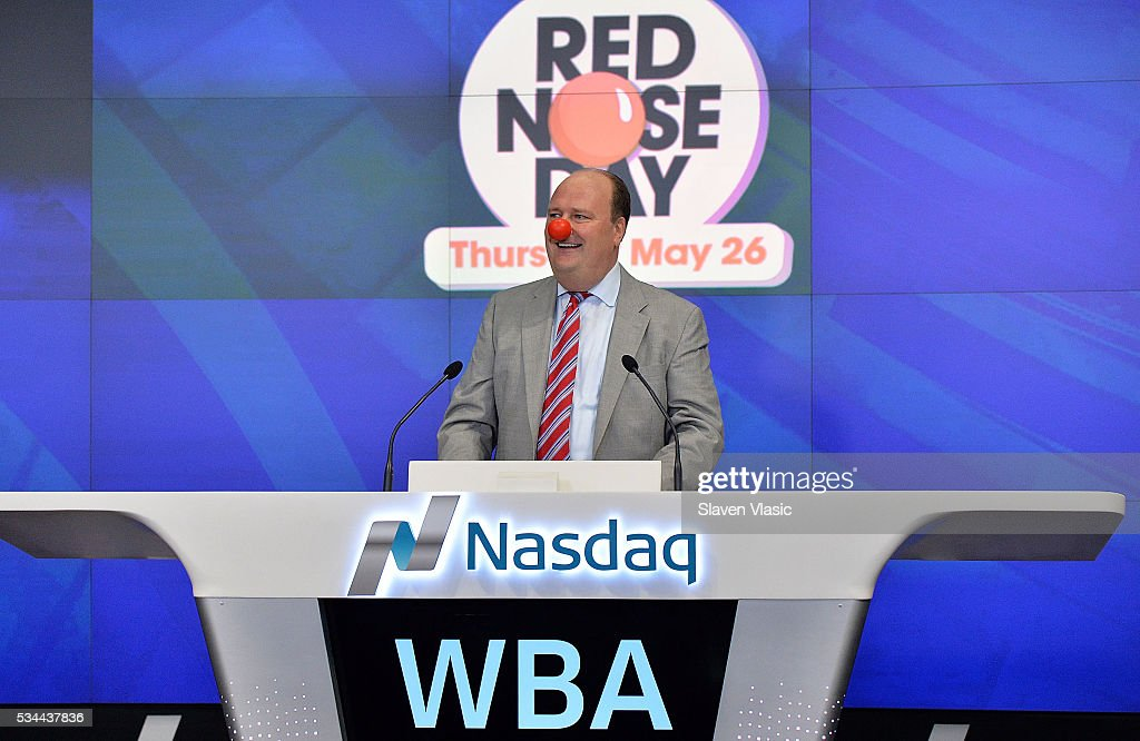 Vice President at NASDAQ OMX, David Wicks visits The NASDAQ Opening Bell in celebration of Red Nose Day at NASDAQ MarketSite on May 26, 2016 in New York City.