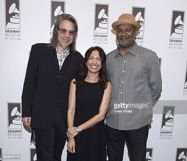 Vice President at The GRAMMY Foundation Scott Goldman recording artist Susanna Hoffs of The Bangles and author and filmmaker Nelson George attend...