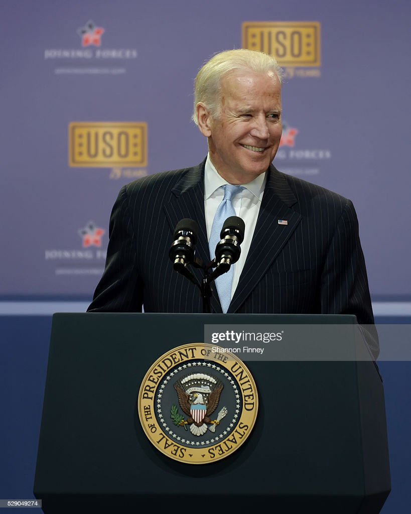 Vice President Biden addresses the audience at the 75th Anniversary USO Show on May 5 2016 at Joint Base Andrews in Camp Springs Maryland