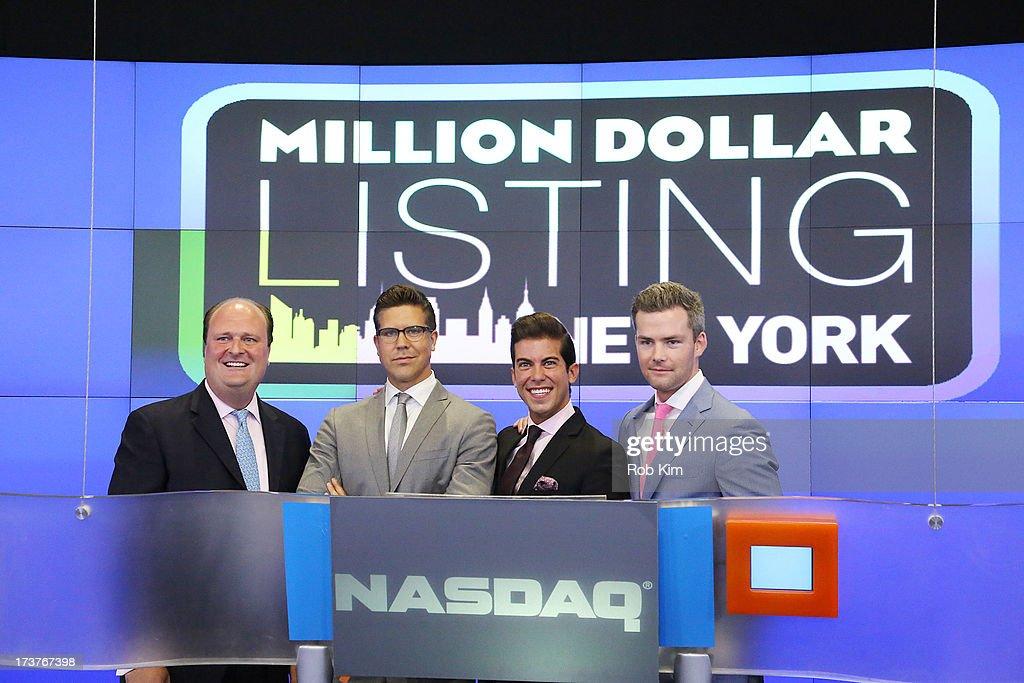 Vice President David Wicks, Fredrik Eklund, Luis D. Ortiz and Ryan Serhant ring closing bell at NASDAQ MarketSite on July 17, 2013 in New York City.